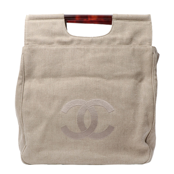 Linen CC Mark Embroidered Tortoiseshell Handle Tote Bag Natural