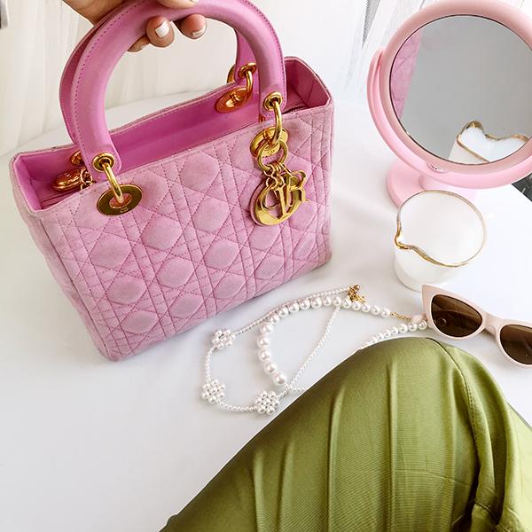 Suede Lady Dior Cannage Handbag M Pink
