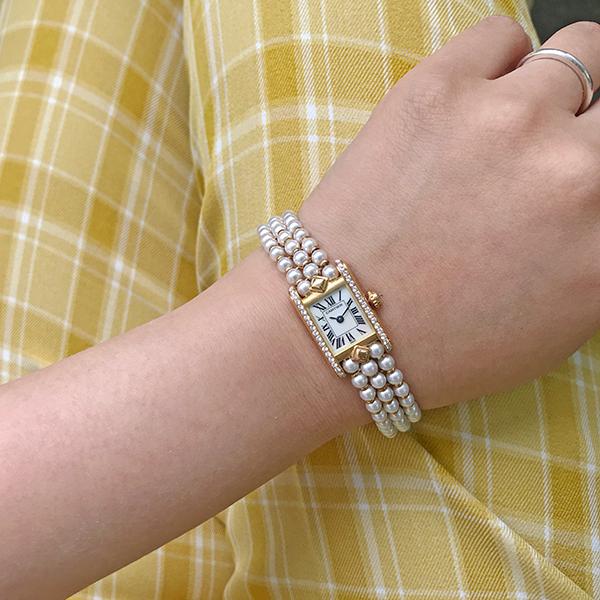 18K Diamond Shell Face Mini Tank Pearl Watch