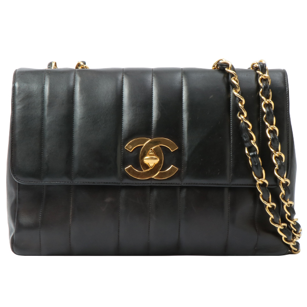 Mademoiselle Stitch Turn-lock Chain Bag Black