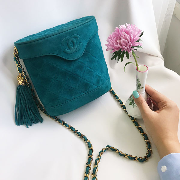 Suede CC Mark Stitch Fringe Chain Bag Turquoise Blue